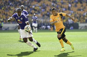Zamuxolo Ngalo Aces and George Lebese Chiefs  vie for the ball. Kaizer Chiefs vs  Black Aces