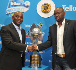 Pitso Mosimane, coach of Mamelodi Sundowns and Steve Komphela, coach of Kaizer Chiefs  during the 2015 Telkom Knockout Final Press Conference at Moses Mabhida Stadium