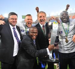 Stuart Baxter (c), coach of Supersport United celebrates with the technical team celebrates